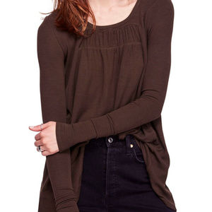 Free People Olive Long Sleeve High/Low Top